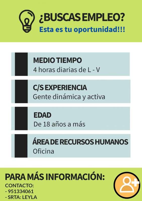 Oportunidad de trabajo c/s experiencia