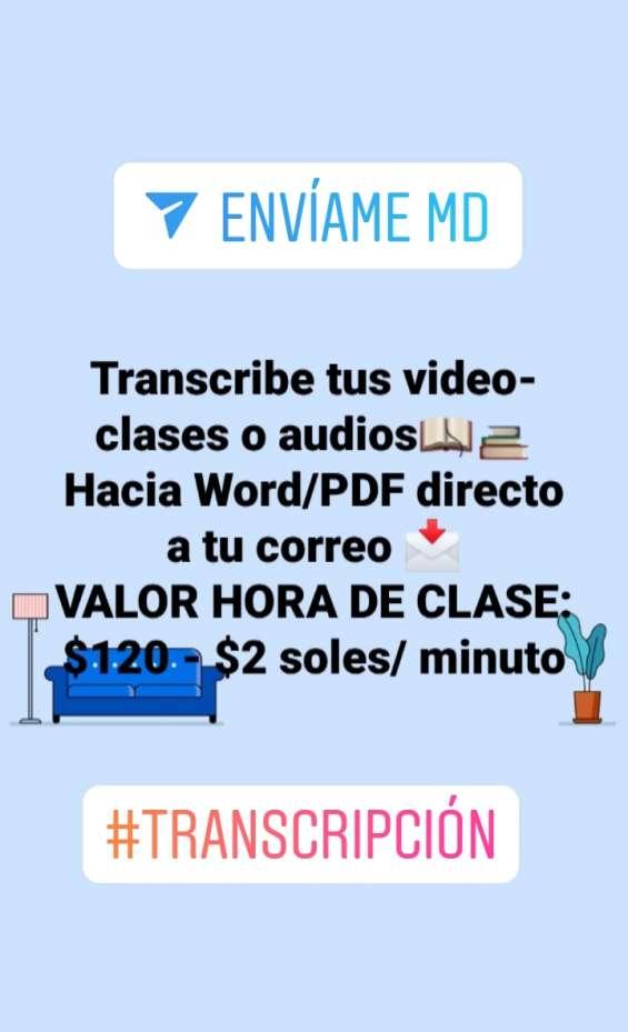 Transcripción de clases/ clases virtuales/ seminarios/ conferencias/ webinars