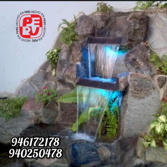 Cataratas, cascadas, grutas y estanques artificiales
