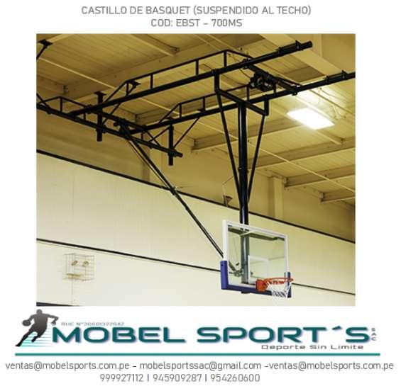 Estructura de basquet suspendido al techo - mobel sports