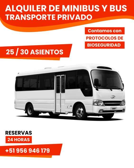 Alquiler de minibus y bus para transporte privado