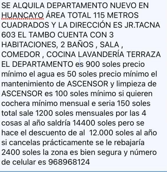 Se alquila departamento nuevo en huancayo ( 968968124)
