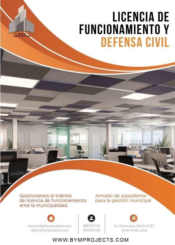 Asesoría - tramitación municipal - licencia de funcionamiento - certificado defensa civil