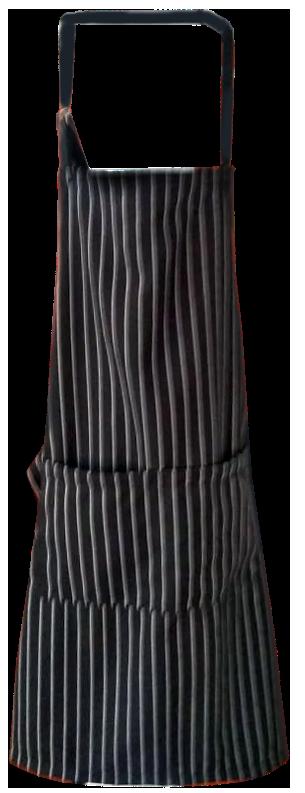 Delantal debajo de la rodilla color negro , a rayas , blanco precio s/. 18 incluye bordado de logo