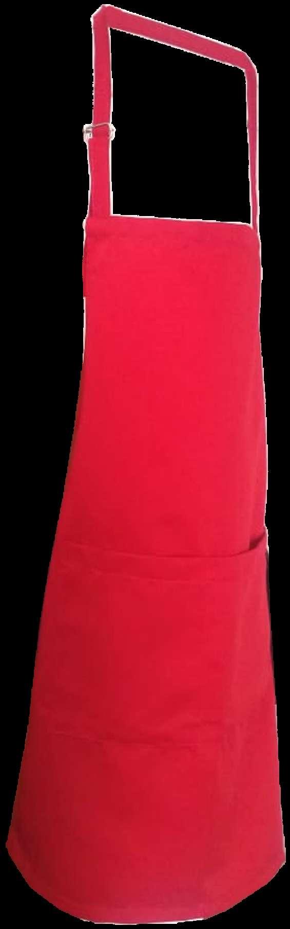 Delantal arriba de la rodilla para moza/o , color rojo , negro blanco con pechera bordada precio s/ . 16 con bordado de logo